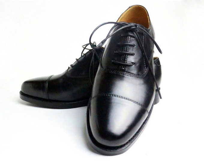 Handmade Goodyear Welted Classic Oxford Men's Dress Shoes,Plain Captoe Pattern