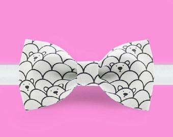 White bowtie -Cute bear bow tie - White bear Bowtie - Classic bowtie - Adjustable Bowtie