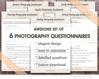 Photography business forms - Photography Questionnaire - Photography Wedding Marketing - DIY Printable Forms INSTANT DOWNLOAD Set of 6!