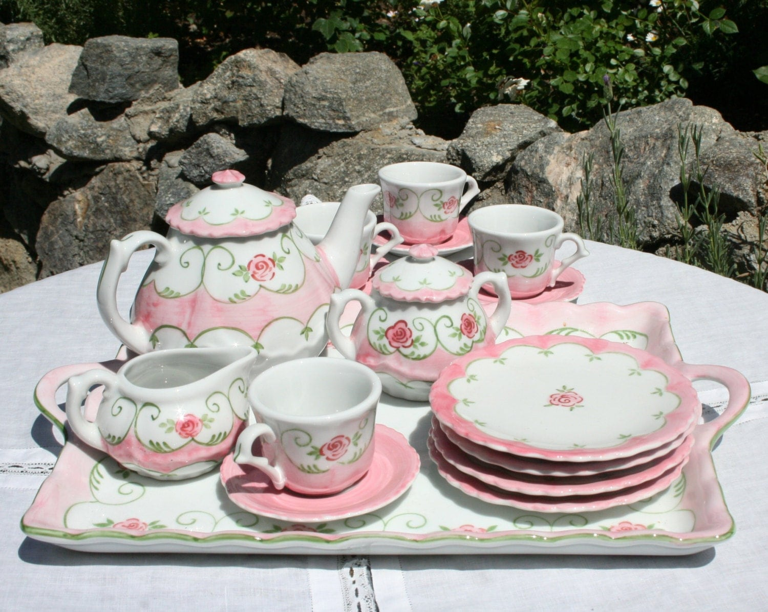 Children S Tea Set Hand Painted With Pink Roses Like New