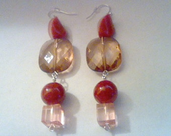 Red And Amber Dangle Earrings