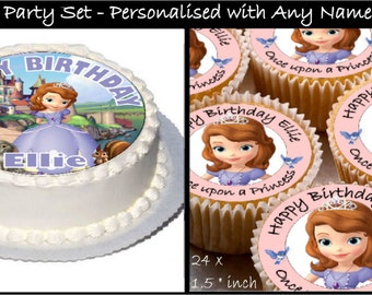 Personalised Sofia Party Set Real Decor Icing Cake Toppers with Any Name&  Happy Birthday