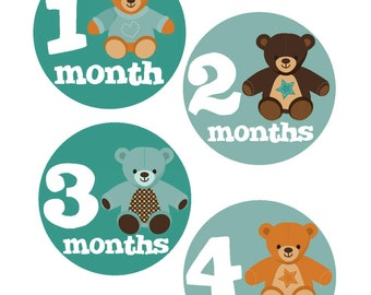 Baby Month Stickers, Monthly Stickers, Monthly Baby Stickers, Baby Shower Gifts, Baby Month Sticker Gender Neutral, Bears, U10