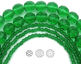 10mm (41pcs) Spring Green, Czech Fire Polished Round Faceted Glass Beads, 16 inch strand
