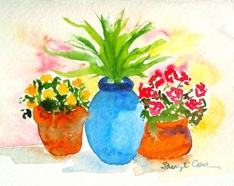Patio Pots Watercolor Notecard