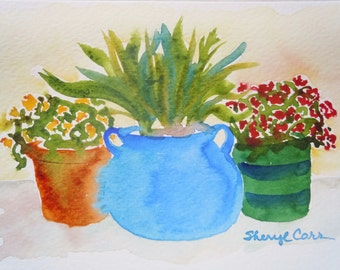 Patio Trio Watercolor Notecard