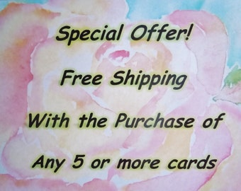 Free Shipping with Purchase - Watercolor Notecards