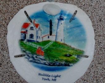 Nubble Lighthouse, York, Maine, sand dollar ornament. Handmade from my  original art. Great for souvenir, wedding, party favors.