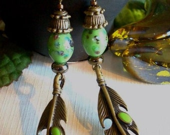 Green and Antiqued Brass Feather Earrings