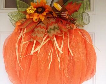 Deco mesh pumpkin, fall wreath, pumpkin, autumn wreath, sun flowers, harvest, thanksgiving,