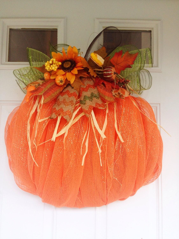 Deco Mesh Pumpkin Fall Wreath Pumpkin Autumn Wreath Sun