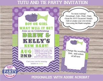 He or She Gender Reveal Invitation, or Tutu and Tie Party, you choose the wording, baby shower, birthday, purple and lime, editable
