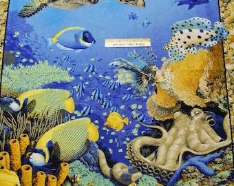 Underwater scene fabric Panel~1 yard~turtle~octupus~tropical fish~sea~ocean~fish