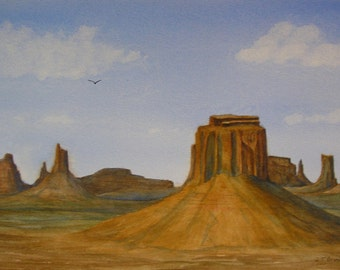 Original Watercolor Painting..Monument Valley...Large Watercolor