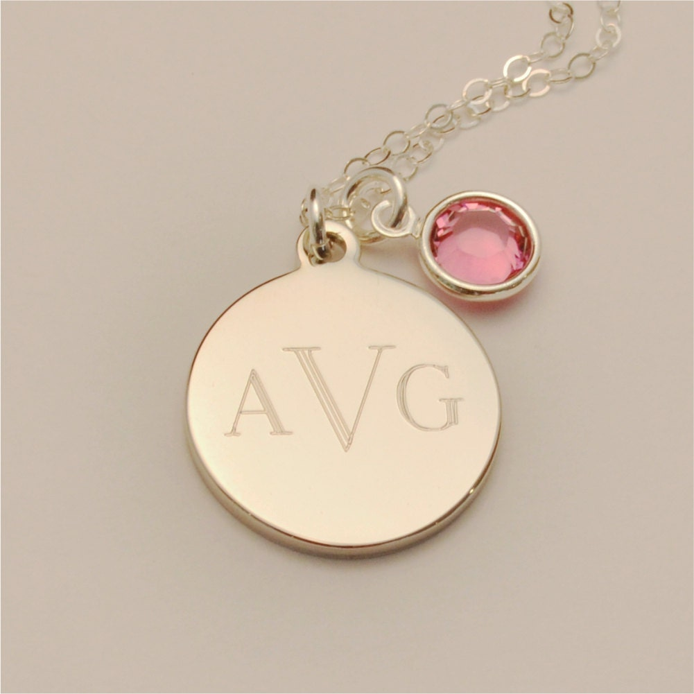 small custom engraved monogram charm necklace with birthstone