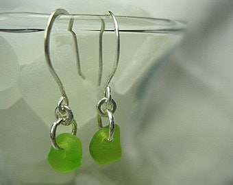 Unique Beach Glass Earrings Lime Green Sterling Silver
