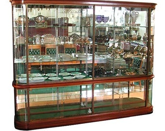395 Wonderful Antique French Mahogany & Glass Display Cabinet