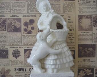 Vintage Ceramic White Lady with Dog Planter Vase 1950's