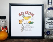 Bee Sting Tequila Cocktail Recipe, Print of Original Handlettered Watercolor Art, Wall Art, Bar Cart, Kitchen Decor