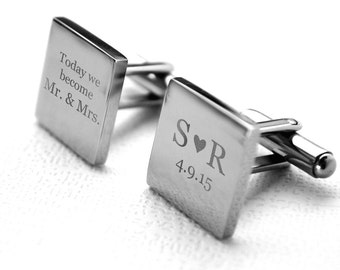 Wedding Cufflinks - Stainless steel with engraved personalized date for lovers, custom, customized, dated, heirloom