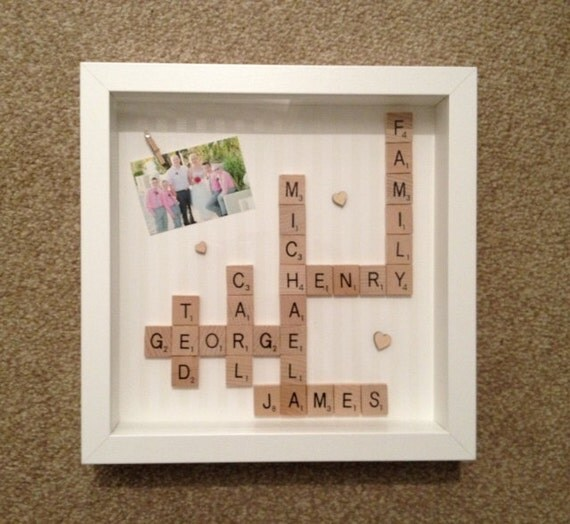 Personalised Family Scrabble Frame Ideal Wedding Birthday
