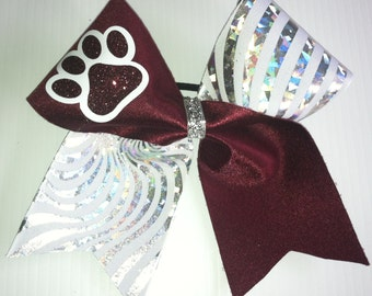Customized Paw Cheer Bow