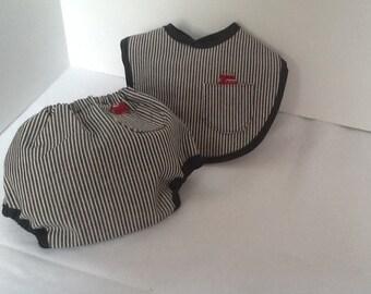 Black and off  white denim diaper cover set