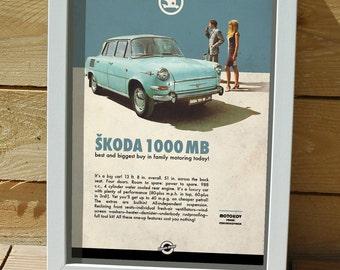 classic car on poster, digital print, Central european car, Czechoslovakia, skoda