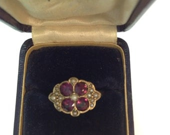 SALE Victorian ring purple stones and seed pearls 10k gold