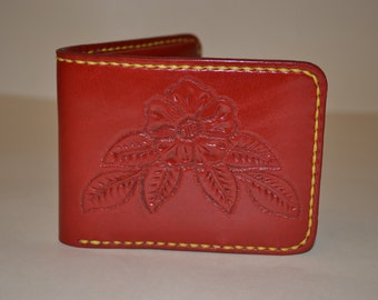 Unique one-of-a-kind handmade leather wallet, hand tooled flower decoration