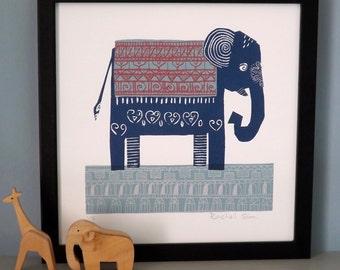 Dark Blue Elephant Screen Print