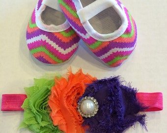 Baby Girl's Rainbow Chevron Crib Shoes And Matching Headband Set