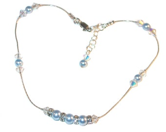 Swarovski Crystal Pearl Anklet Sterling Silver BLUE & CLEAR AB Handcrafted