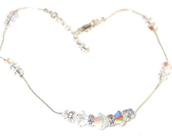 Swarovski Crystal Anklet Sterling Silver CLEAR AB Handcrafted
