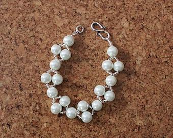 White and silver beaded bracelet White glass pearl bracelet UK seller