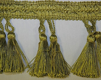 Green Apple Twin Tassel Fringe - Home Decor Trim - Drapery Trim - Tassel Fringe By The Yard