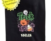 Embriodered Halloween Trick or Treat Candy Bag (with glow-in-the-dark personalization)