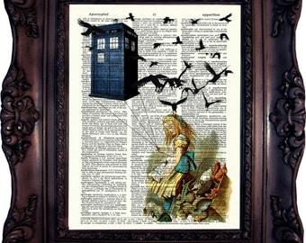 Dr Who.Tardis. Alice in wonderland. Dictionary art print. Vintage  Print. Book Page. Art print. Tardis.Alice. Dictionary print. Code:035