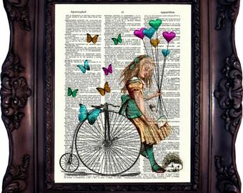 ALICE in WONDERLAND Art Print on Book Page. Alice in wonderland decor. Alice in wonderland print. Alice in wonderland decoration.Code:032