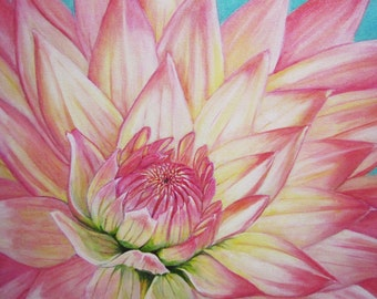 "Flower original painting ""Dahlia"""