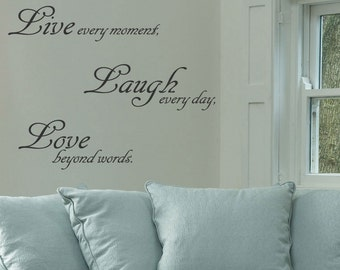 Live Love Laugh Wall Art Quote Stickers Wall Decals Words Letterings