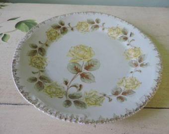 Vintage Porcelain Plate With Yellow Roses
