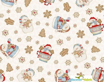 Sale Today - Cocoa & Cookies Flannel Christmas Fabric - 17 INCHES End of Bolt Snowman Flannel Fabric In Cream