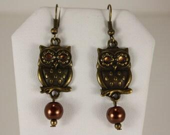 Antique gold owl charms cinamon pearl dangles, fishhooks, E 139