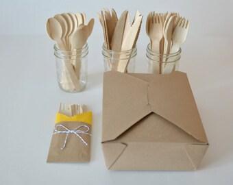 Kraft Picnic Box 6 Piece Kit // Disposable Wooden Cutlery // Silverware Bags // Kraft Lunch Box Kit (Set of 10)