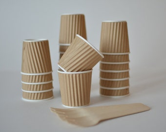 4oz Ripple Paper Cups // Kraft Paper Ice Cream Cups // Brown Kraft Paper Cups // Paper Cups // Paper Party Cups (Set of 25)