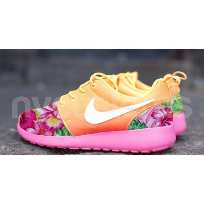 wombj Nike Roshe Run Atomic Mango Ombre Island Floral by NYCustoms