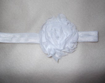 White Shabby Flower on Elastic Headband, Baby girl Headband, Newborn Headband, Girls, Toddlers