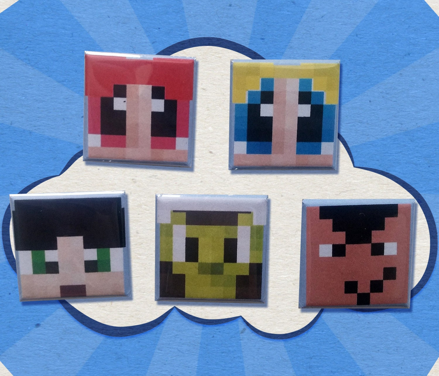 5 Powerpuff Girls Minecraft Style Buttons 1 Inch Square