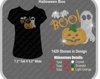 Halloween Boo Rhinestone T-Shirt, Tank or Hoodie
